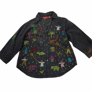 Sacred Threads Wearable Art Embroidered top Large